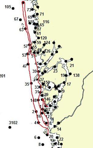 Seglad rutt där Ramskär söder om Koster rundades.